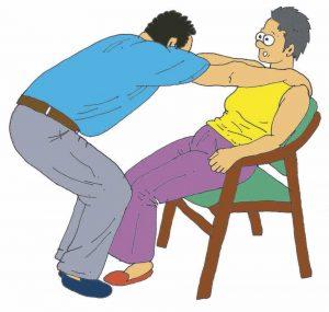 Atracción del cuerpo de la persona dependiente mediante gesto de contrapeso